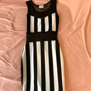 White and black stripped dress